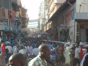 Commercial district of Kampala.